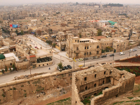 part of Aleppo's historic citadel, overlooking Aleppo city, Syria