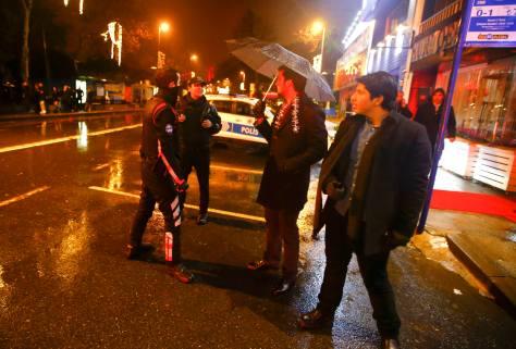 Police secure area near an Istanbul nightclub