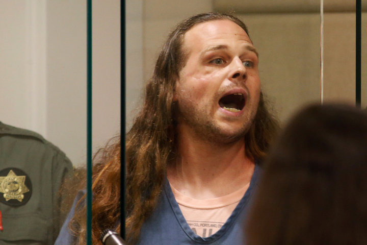Jeremy Christian accused of fatally stabbings two Good Samaritans shouts in court in Portland